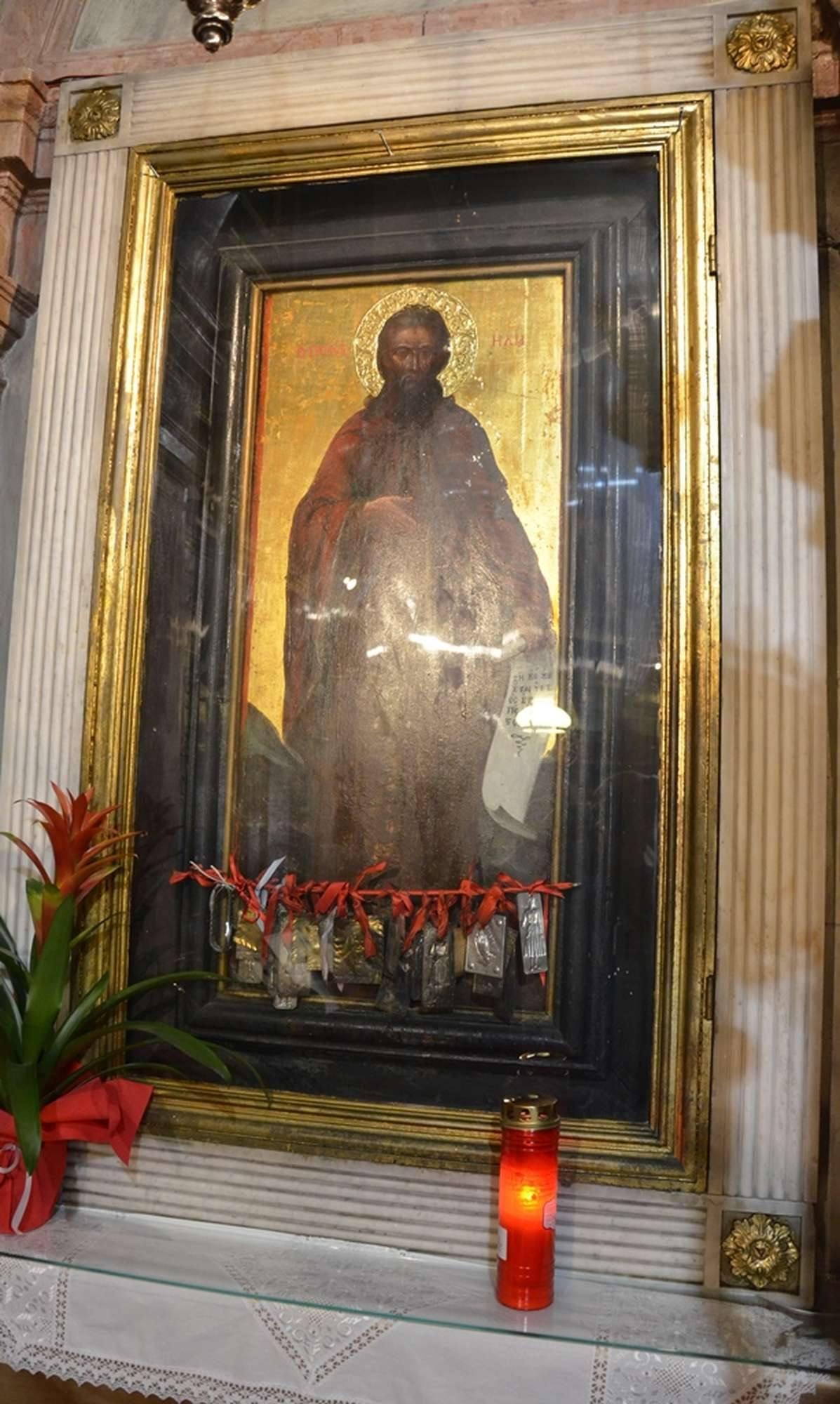 Чудотворная икона святой пророка Ильи в храме Богородицы тон Ксенон-Фанеромени
