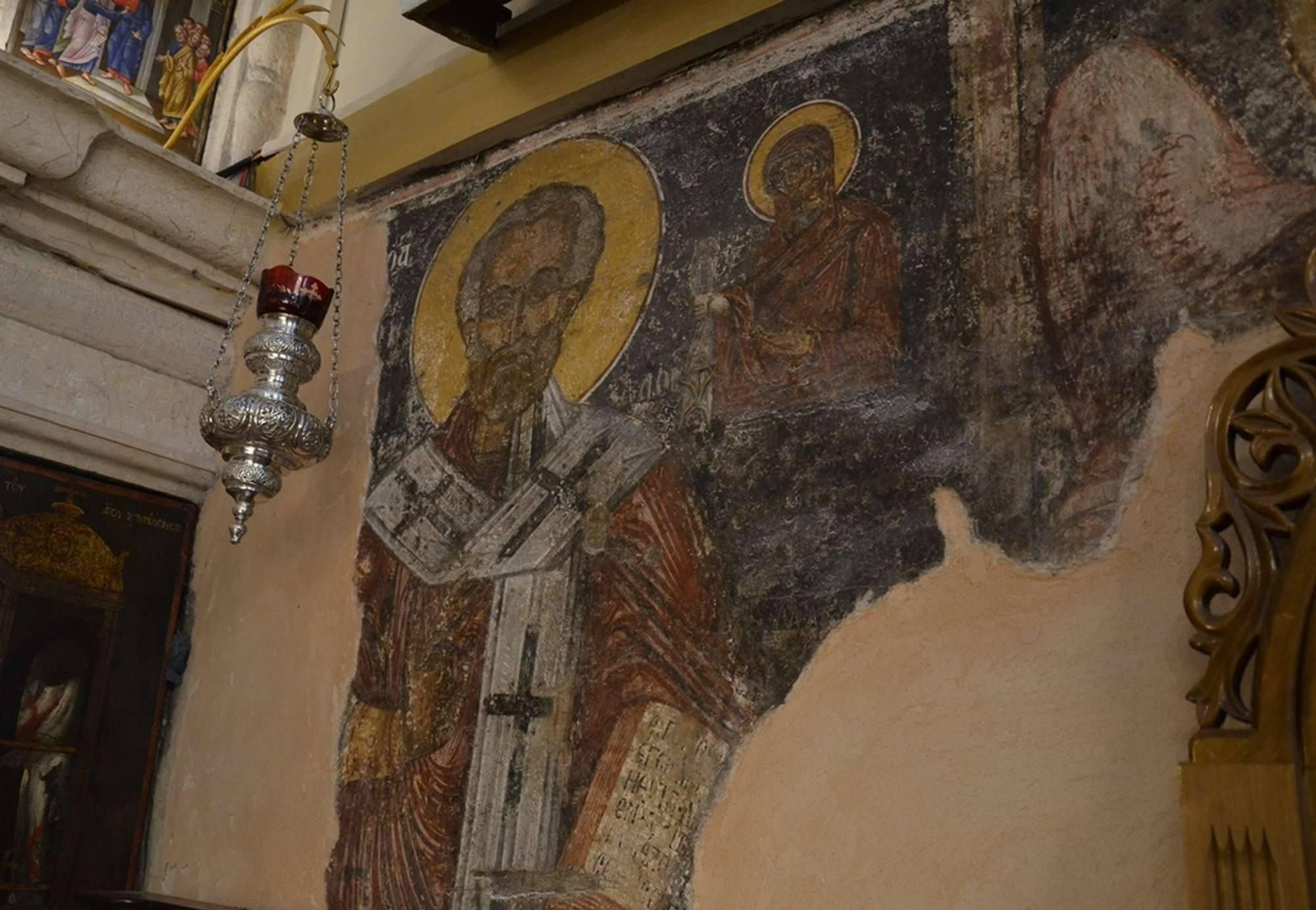 Сохранившийся фрагмент росписи храма в Касиопи